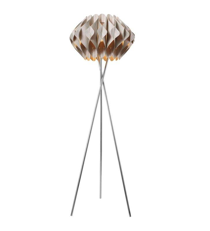 Lampa podłogowa Ruben z oryginalnym beżowym abażurem trójnóg do salonu jadalni sypialni
