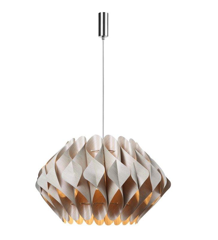 Duża beżowa lampa wisząca Ruben z oryginalnym abażurem do salonu sypialni jadalni kuchni