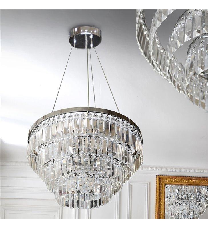 Lampa wisząca Salerno z podłużnymi kryształami chrom do eleganckich stylowych wnętrz w stylu nowoczesnym i klasycznym
