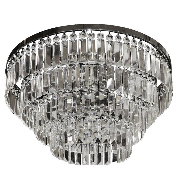 Okrągły plafon kryształowy na sufit Salerno 570 podłużne bezbarwne kryształy