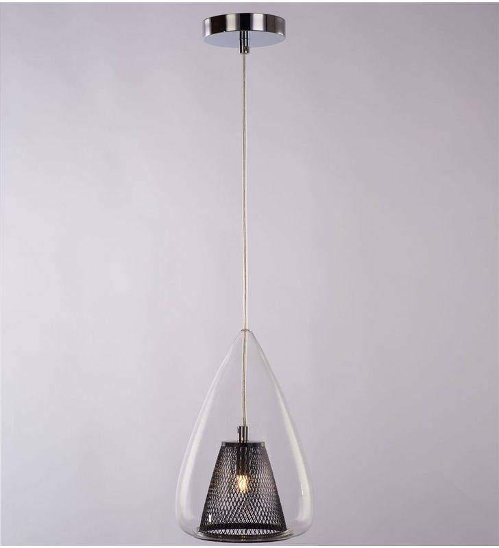 1 zwisowa lampa wisząca Gordon podwójny klosz czarny siatkowy wewnątrz szklanego bezbarwnego