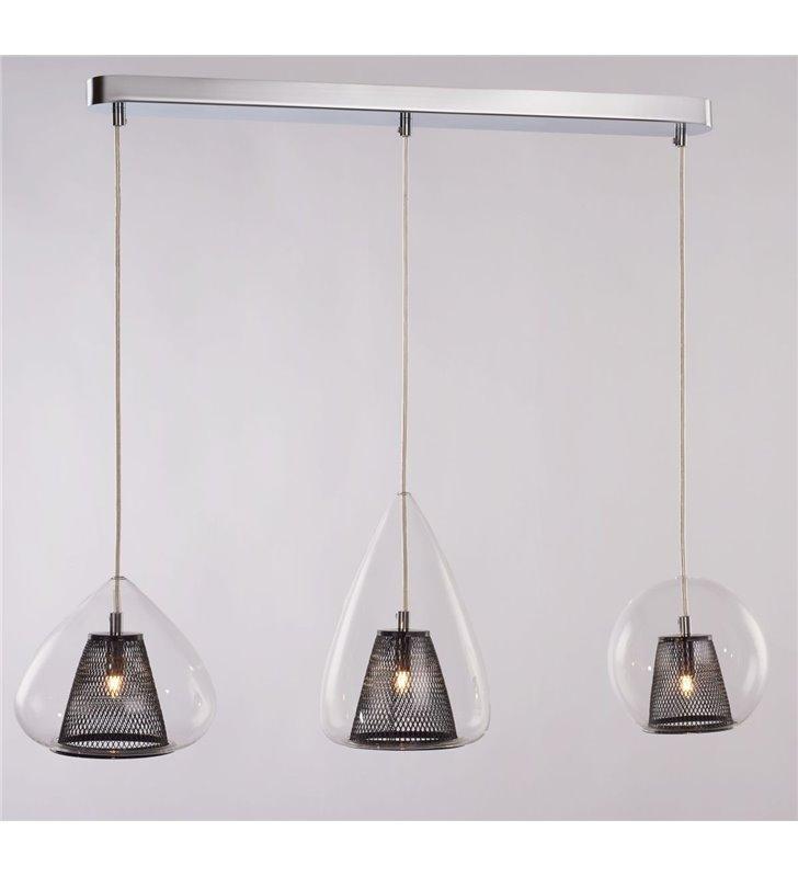 Nowoczesna lampa wisząca Gordon 3 podwójne klosze czarne metalowe wewnątrz szklanych różnego kształtu