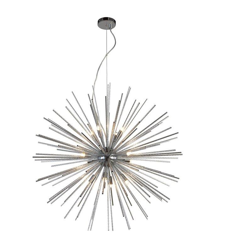 Lampa wisząca Sirius chrom średnica 75cm duża nowoczesna do salonu sypialni jadalni długi zwis