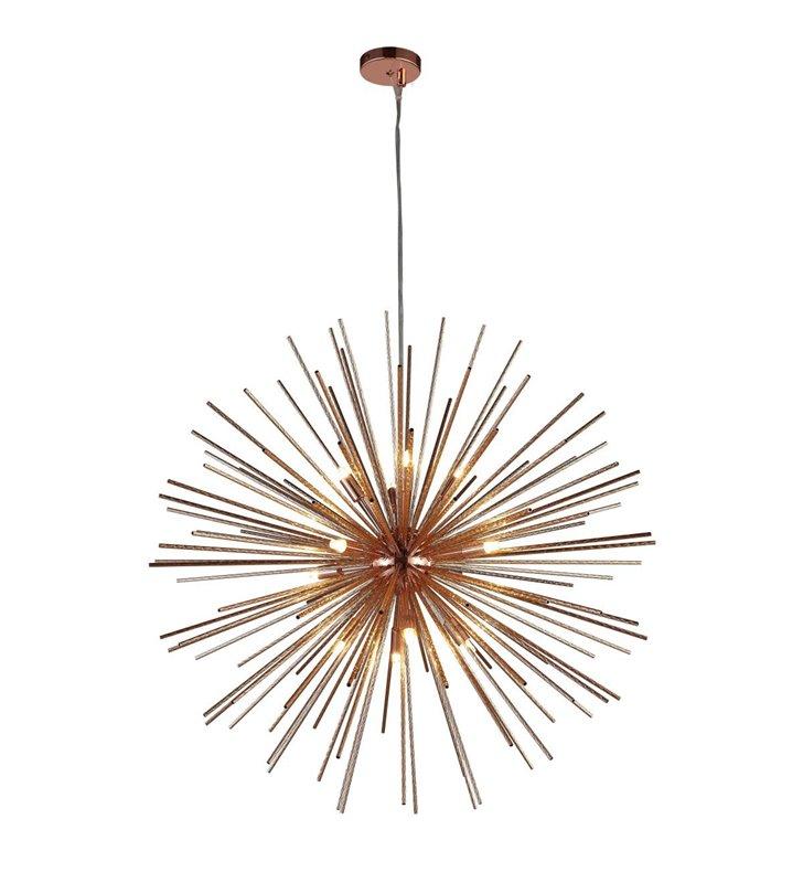 Duża lampa wisząca Sirius metalowe pręciki w kolorze aluminium i miedzi do wysokiego pomieszczenia