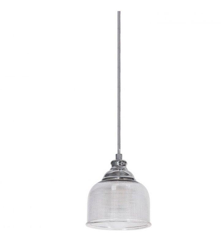 Lampa wisząca Mora pojedyncza szklany klosz z fakturą wykończenie chrom