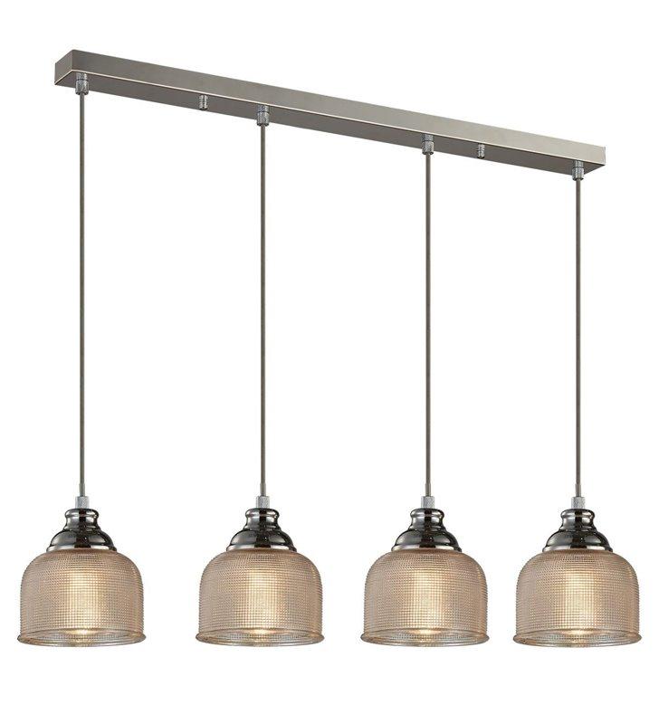 Lampa wisząca Mora 4 szklane klosze na belce styl vintage klosze z fakturą 4 żarówki E27 - OD RĘKI