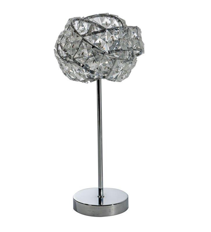 Lampa stołowa nocna Bari z kryształowym kloszem wykończenie chrom