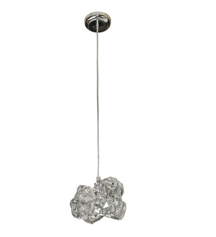 Lampa wisząca Bari mała pojedyncza z kryształowym kloszem nad stół do jadalni kuchni salonu sypialni