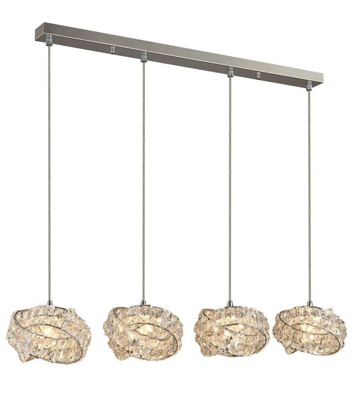 Poczwórna lampa wisząca na belce Bari klosze kryształowe do salonu sypialni jadalni kuchni nad stół