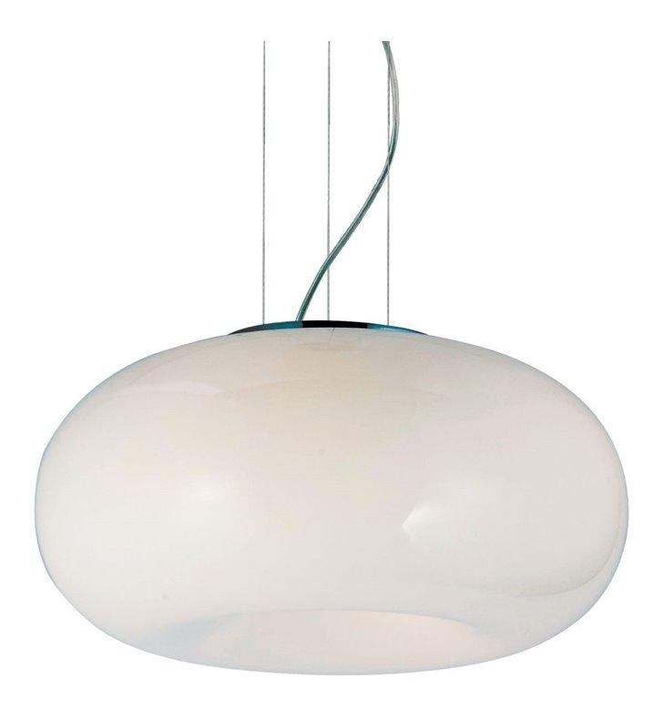 Biała szklana lampa wisząca o średnicy 46cm Optima długa