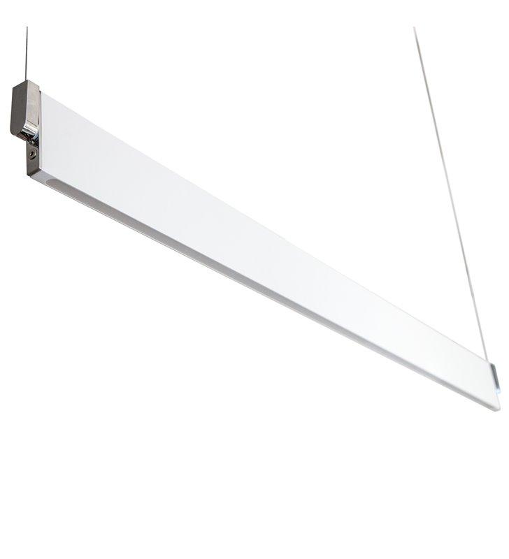 Nowoczesna podłużna wąska lampa wisząca Norman kolor biały z chrom 2 położenia klosza