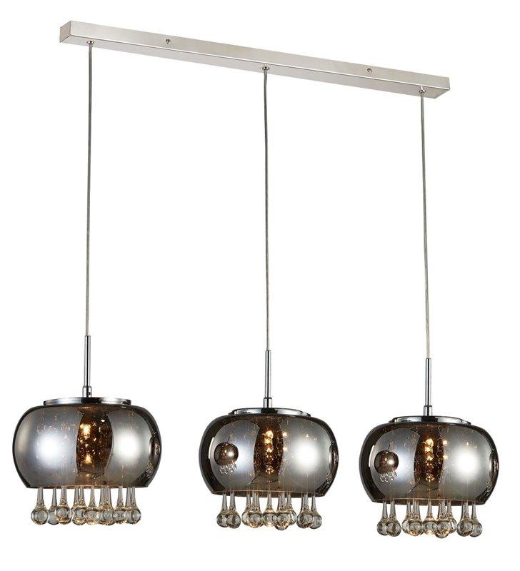 Potrójna lampa wisząca Burn szklane chromowane klosze z podłużnymi kryształami