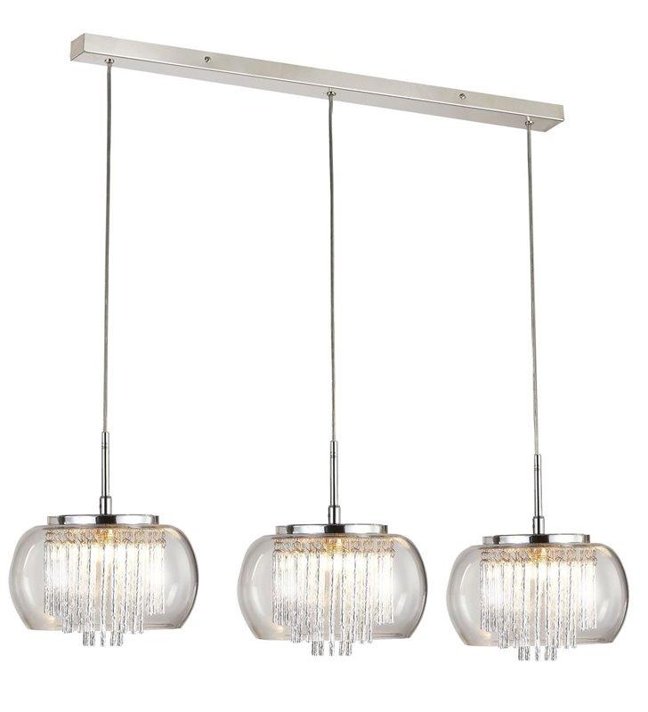 Lampa wisząca Rego potrójna szklane klosze z dekoracyjnymi pręcikami rozpraszającymi światło elegancka np. nad stół do jadalni
