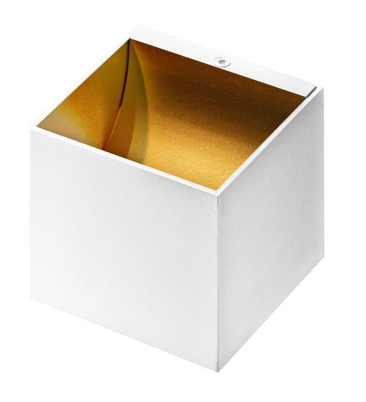 Kinkiet Mars biała kostka ze złotym środkiem