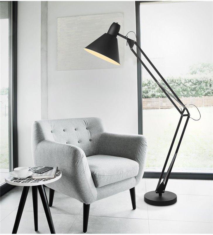 Nowoczesna lampa stojąca Kipsar czarna regulowana styl loftowy industrialny młodzieżowy