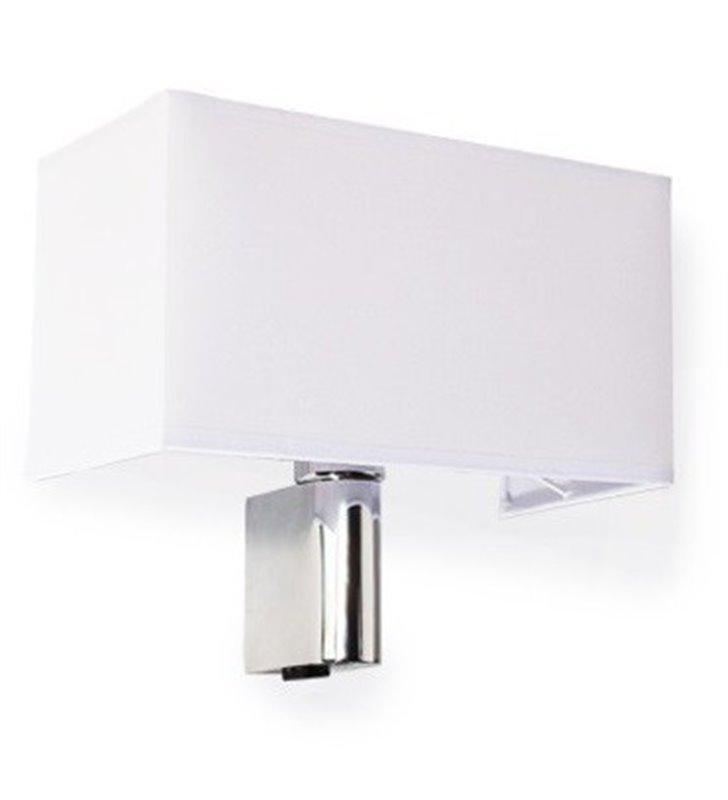 Kinkiet Amadeo z białym prostokątnym abażurem metal chrom do sypialni salonu na przedpokój