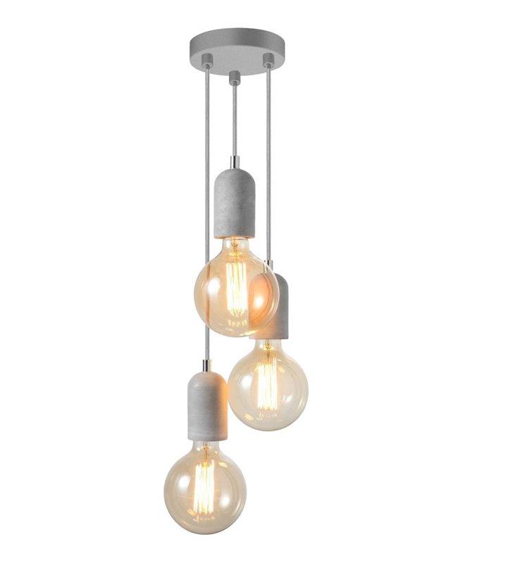 Lampa wisząca Volta potrójna oprawki z betonu architektonicznego do dekoracyjnych żarówek