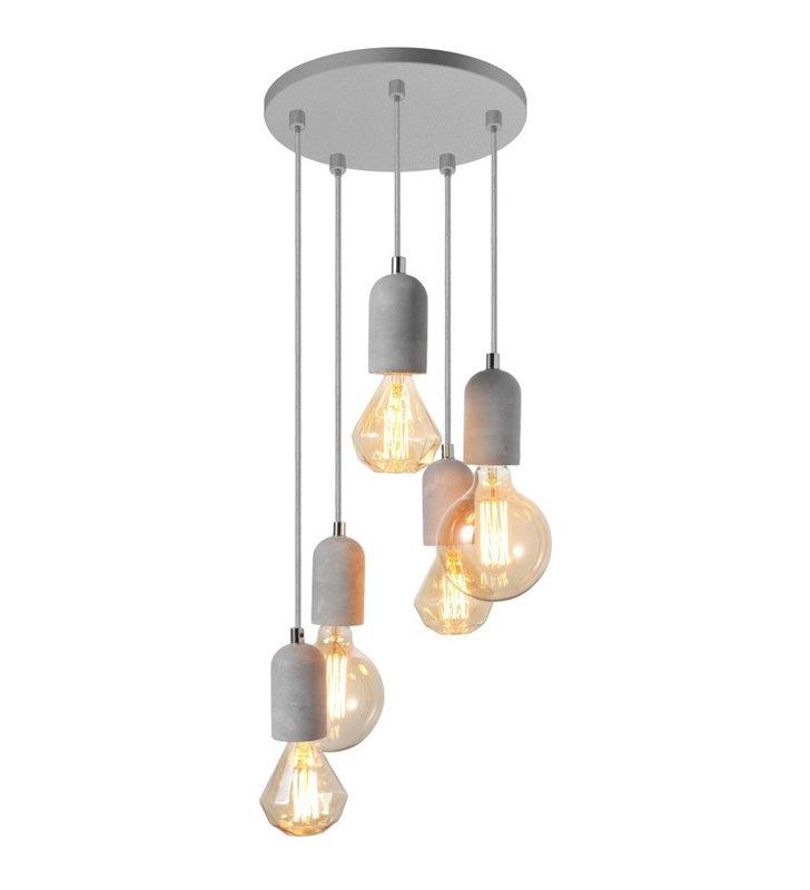 5 zwisowa nowoczesna lampa Volta oprawki z betonu do żarówek typu edison styl loftowy industrialny
