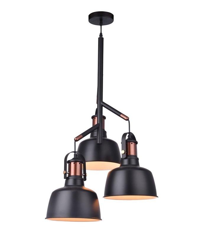 Orginalna metalowa lampa wisząca Darling czarno miedziana 3 żarówki
