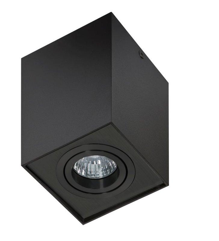 Kwadratowa natynkowa lampa sufitowa Eloy czarna ruchoma 1 żarówka GU10