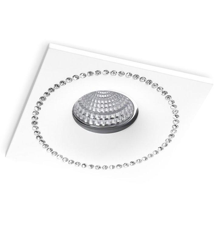 Kwadratowa biała oprawa podtynkowa z kryształkami Simon