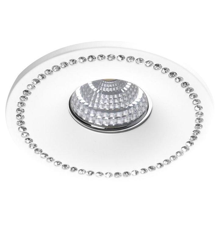 Oprawa Simon biała okrągła z kryształami podtynkowa