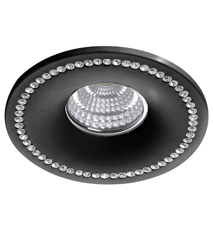 Okrągła lampa podtynkowa Simon czarna ozdobiona kryształkami