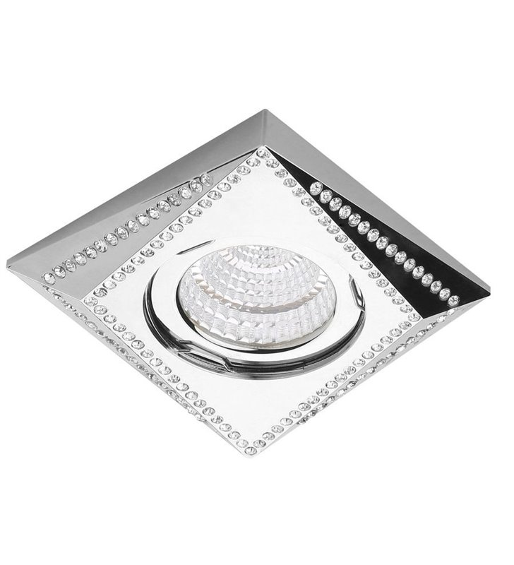 Kwadratowa lampa podtynkowa Mira kolor chrom z kryształami