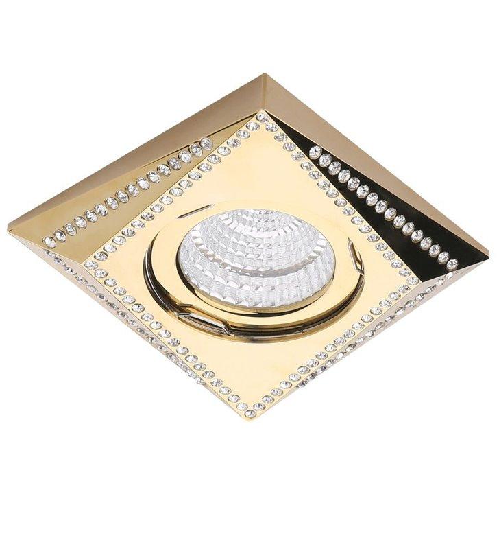 Złota kwadratowa lampa do wbudowania Mira z kryształami