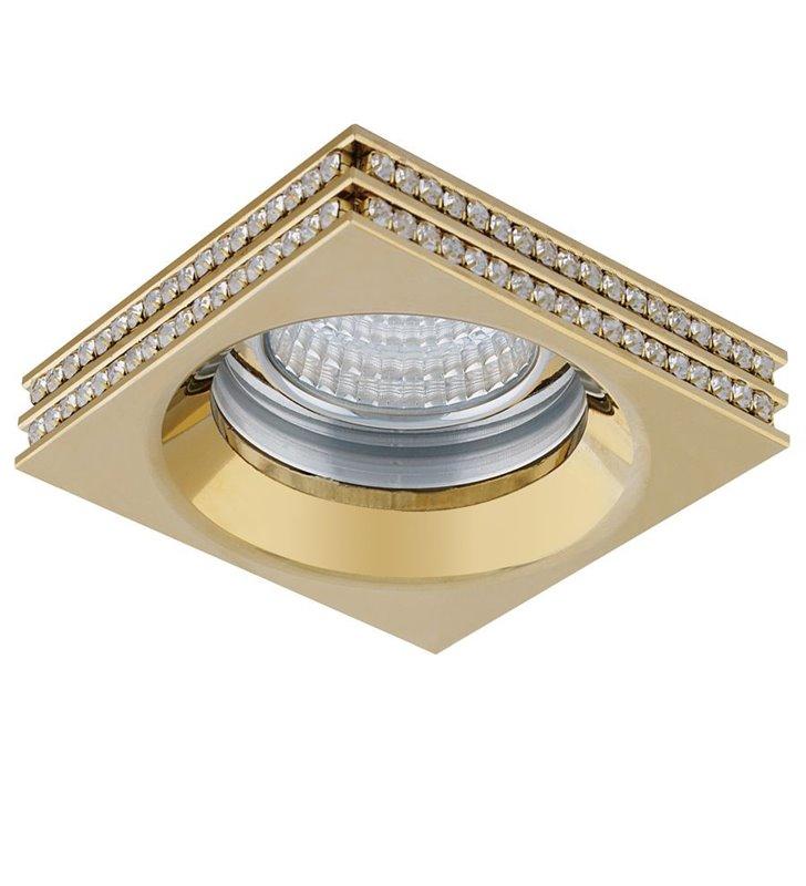 Złota elegancka kwadratowa lampa podtynkowa Eva z kryształami