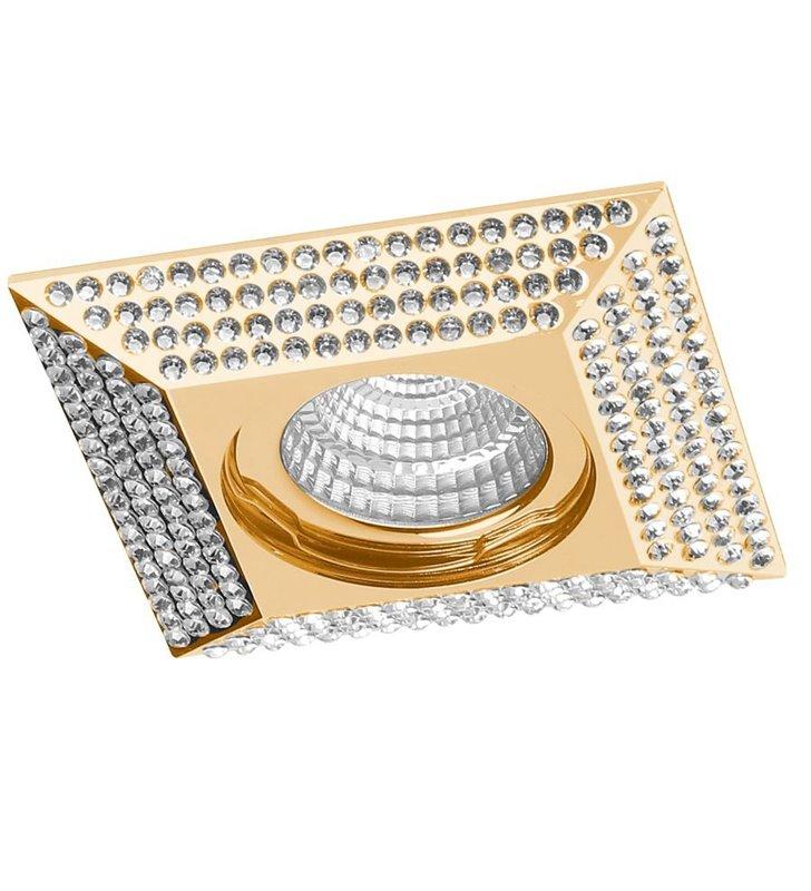 Kwadratowa lampa podtynkowa Piramide złota z kryształami 9x9cm