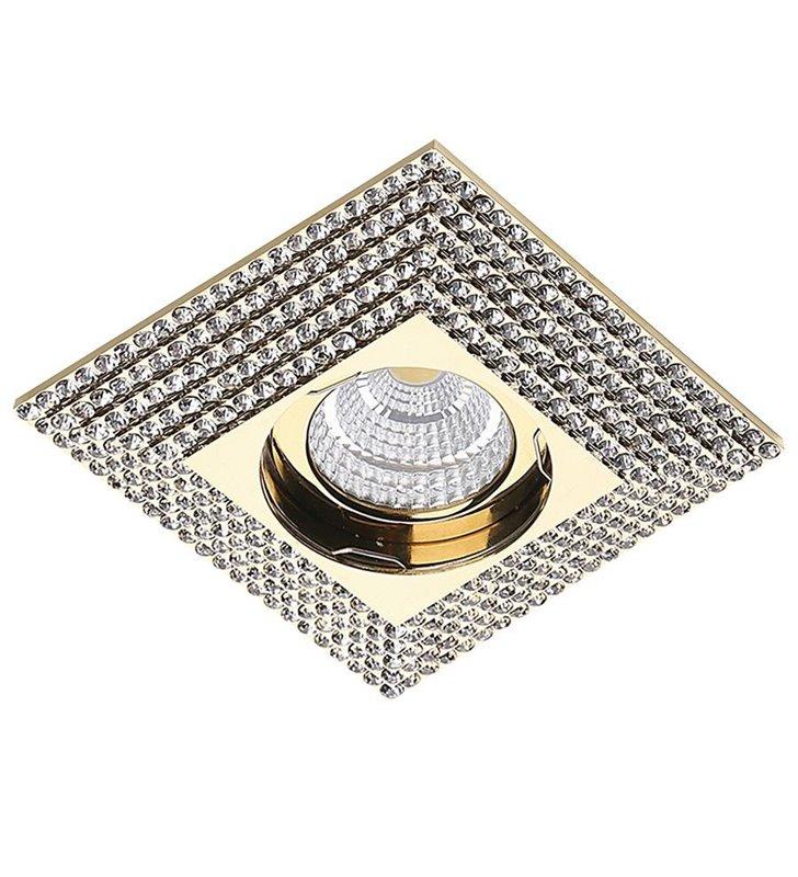 Oczko podtynkowe Piramide kolor złoty z kryształami 10x10cm do eleganckich stylowych wnętrz