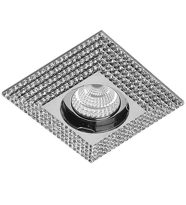 Elegancka stylowa oprawa punktowa do wbudowania Piramide chrom kryształki