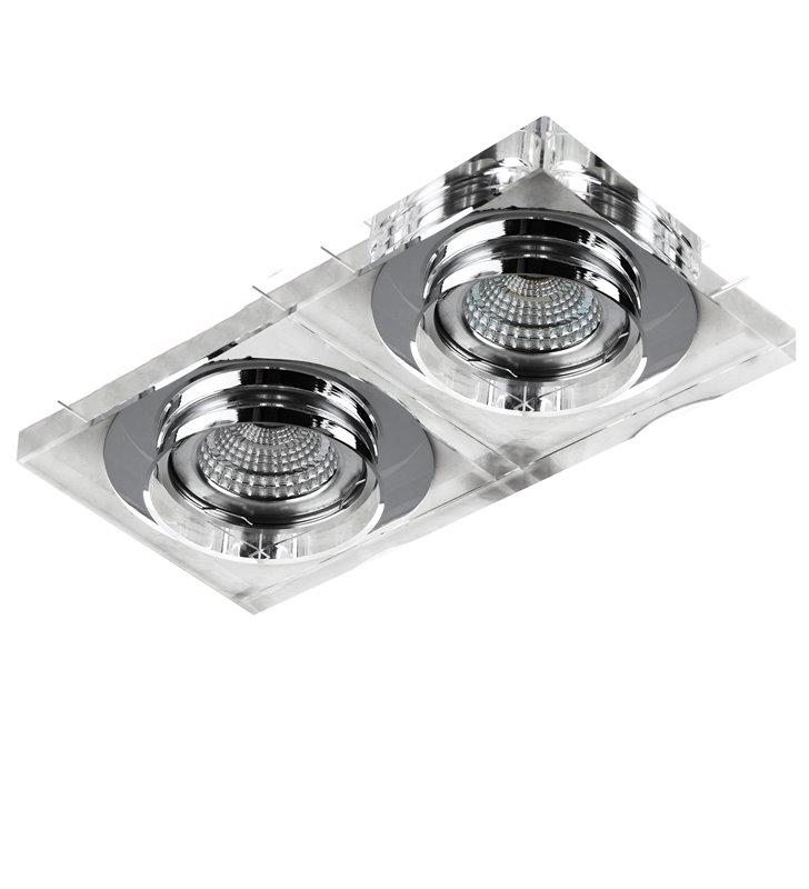 Kwadratowa lampa punktowa Vektor na 2 żarówki ze szkła kryształowego styl nowoczesny