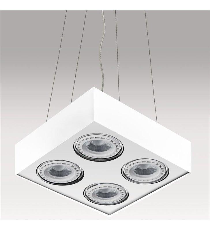 Lampa wisząca Paulo kwadratowa biała z 4 żarówkami styl techniczny