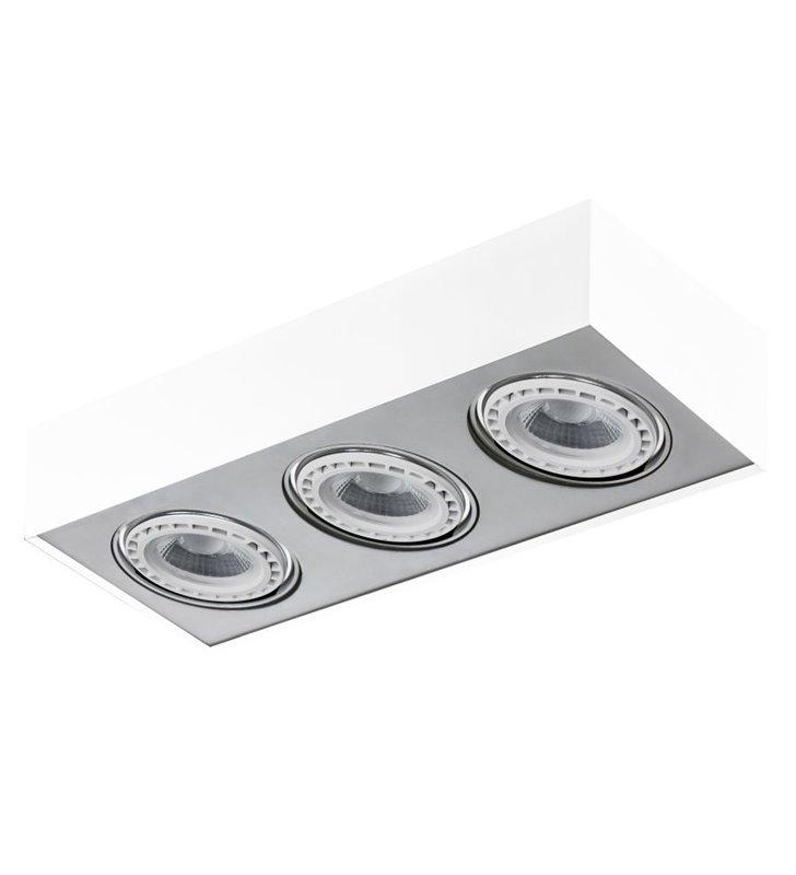 Paulo 3 punktowy plafon sufitowy biały z aluminiowym wykończeniem oprawa ruchoma