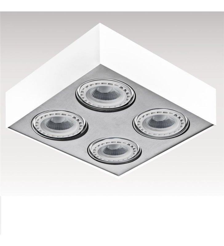 Plafon Paulo 4 punkty świetlne kwadratowy biało aluminiowy ruchome żarówki