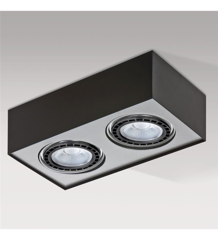 Prostokątny 2 punktowy plafon Paulo czarno aluminiowa nowoczesny