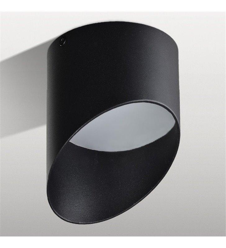 Czarna asymetryczna lampa sufitowa typu downlight Momo LED 11,5cm średnicy