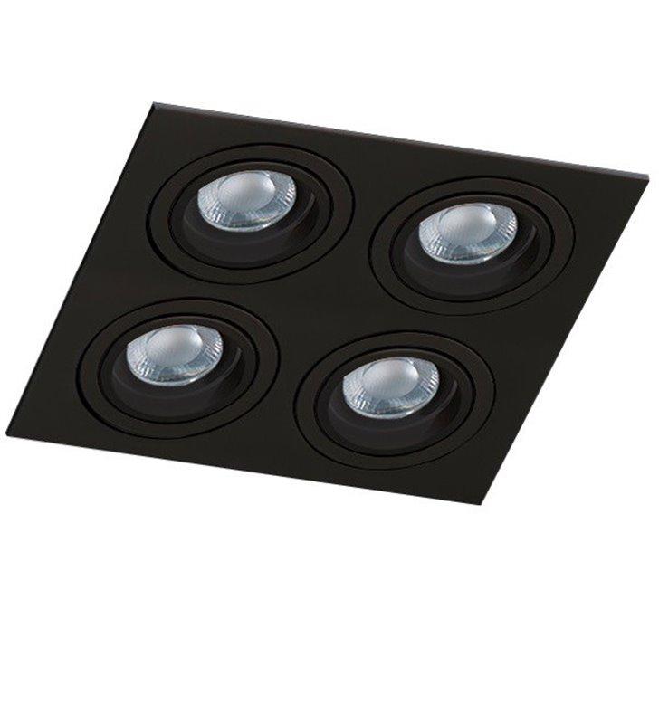 Kwadratowa lampa do wbudowania Caro czarna na 4 żarówki GU10