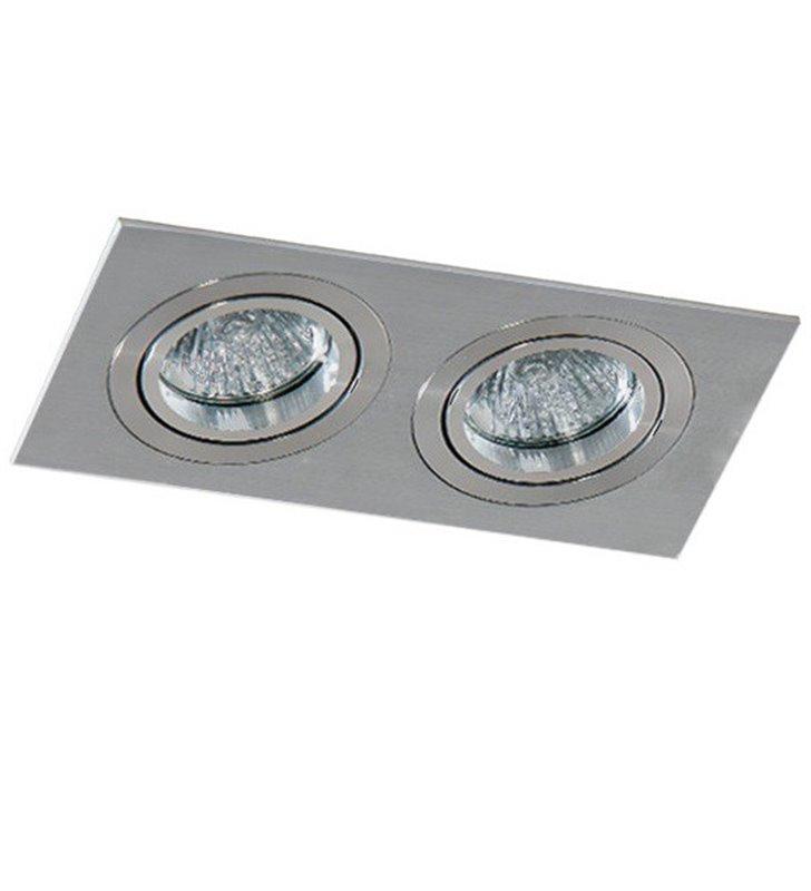 Podwójna lampa podtynkowa Caro w kolorze aluminium