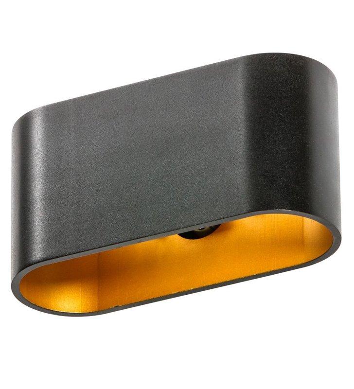 Kinkiet Vega czarny ze złotym środkiem nowoczesny obustronny strumień światła