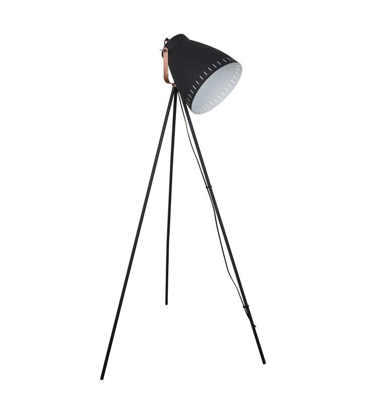 Stojąca nowoczesna lampa podłogowa Franklin na 3 nogach czarna z miedzianymi elementami