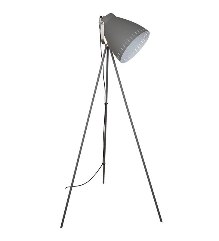 Lampa podłogowa Franklin szara w stylu vintage 3 nogi