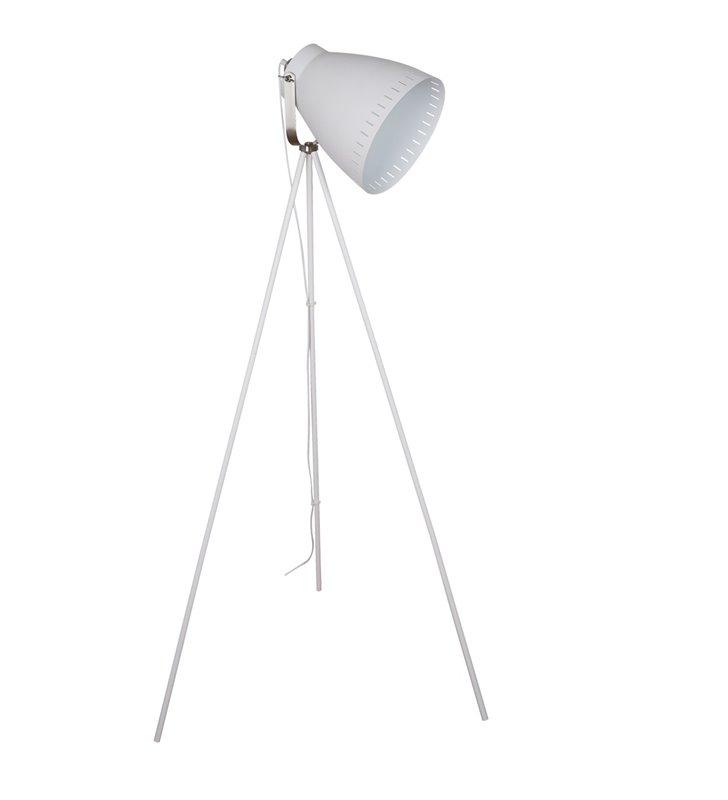 Franklin biała lampa podłogowa na trójnogu styl vintage