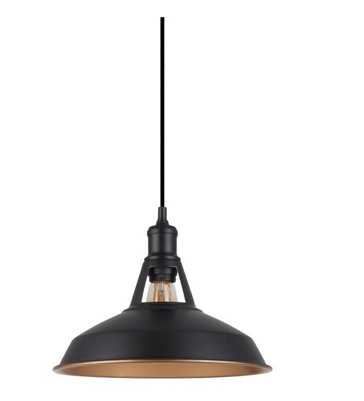 Lampa wisząca Freya czarna metalowa ze złotym wnętrzem klosza styl vintage loft