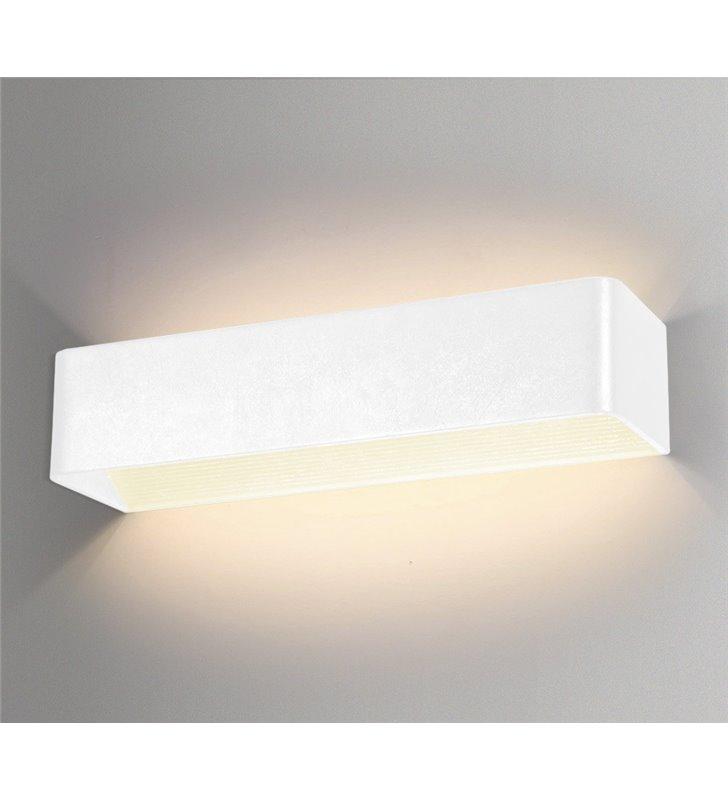 Podłużny biały nowoczesny kinkiet Felix LED ciepła barwa światła