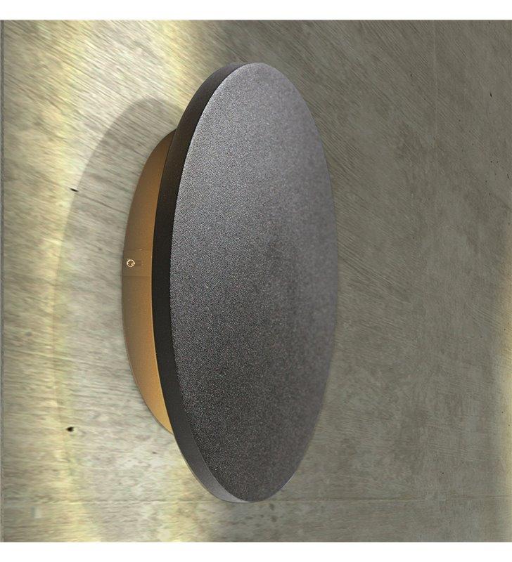 Okrągła lampa ścienna Ancona LED czarna średnica 18cm do wnętrz nowoczesnych industrialnych minimalistycznych