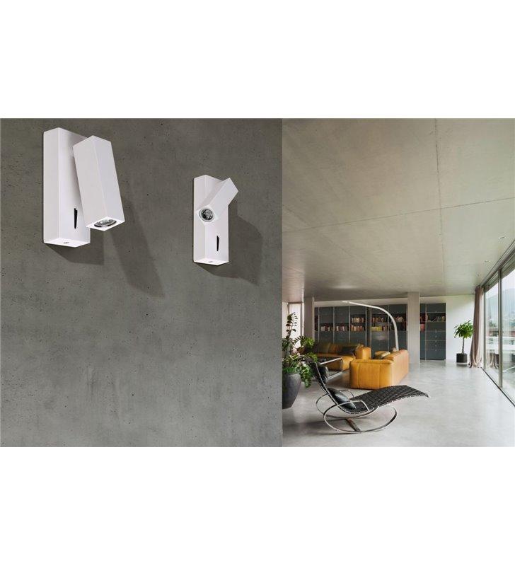 Kinkiet Angus biały nowoczesny w stylu technicznym z włącznikiem