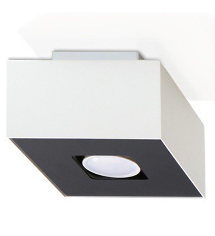 Mały czarno biały kwadratowy plafon Mono 140 nowoczesny żarówka GU10 - OD RĘKI